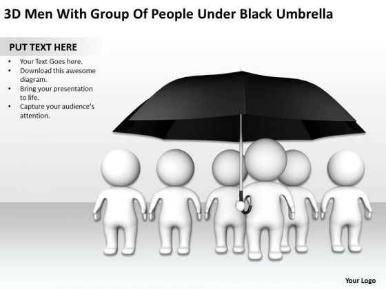 Business Flow Diagram Example 3d Men With Group Of People Under Black Umbrella PowerPoint Slides