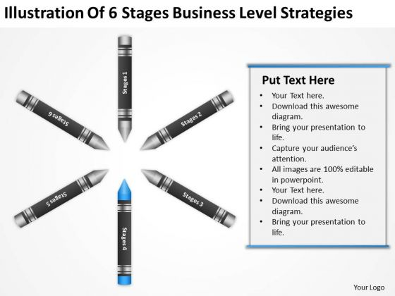 Business Flow Diagram Illustration Of 6 Stages Level Strategies PowerPoint Template