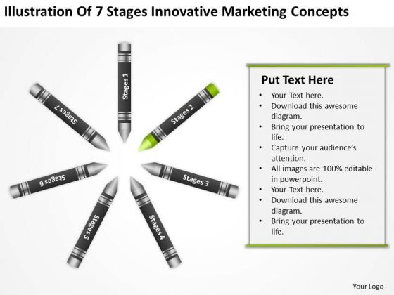 Business Flow Diagram Of 7 Stages Innovative Marketing Concepts PowerPoint Template