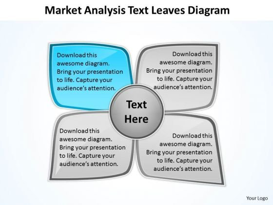 Business Flow Diagrams Market Analysis Text Leaves Ppt PowerPoint Slides
