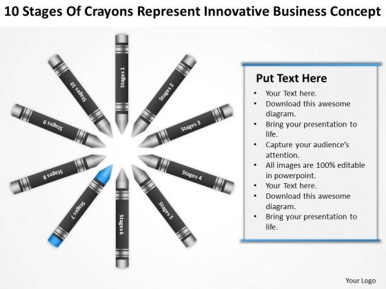 Business Flow Diagrams Of Crayons Represent Innovative Concept PowerPoint Slides