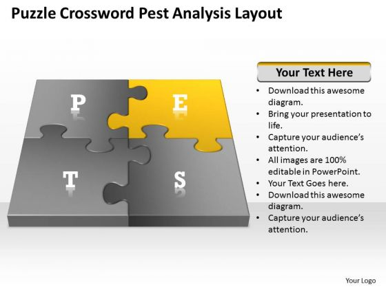 Business Flow Diagrams Puzzle Crossword Pest Analysis Layout Ppt PowerPoint Templates