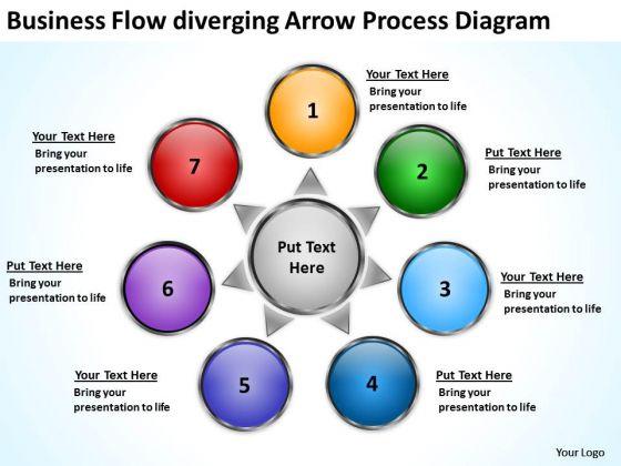 Business Flow Diverging Arrow Process Diagram Circular Spoke PowerPoint Templates