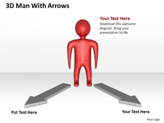 Business Flowchart 3d Man With Arrows PowerPoint Templates
