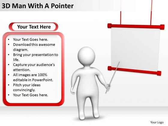 Business Flowchart 3d Man With Pointer PowerPoint Templates