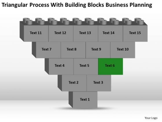 Business Flowchart Process With Building Blocks Planning PowerPoint Slides