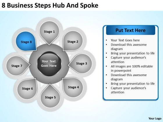 Business Flowchart Steps Hub And Spoke Ppt PowerPoint Templates Backgrounds For Slides