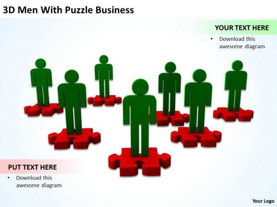 Business Flowchart With Red Puzzle PowerPoint Presentation Templates