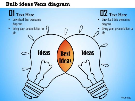 Business Framework Bulb Ideas Venn Diagram PowerPoint Presentation