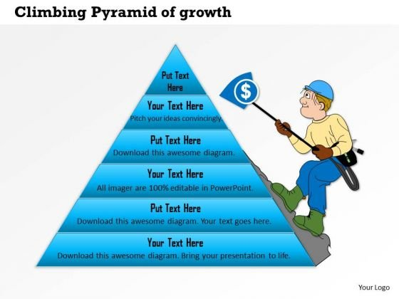 Business Framework Climbing Pyramid Of Growth PowerPoint Presentation