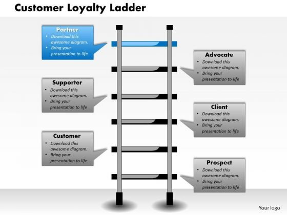 Business Framework Customer Loyalty Ladder PowerPoint Presentation