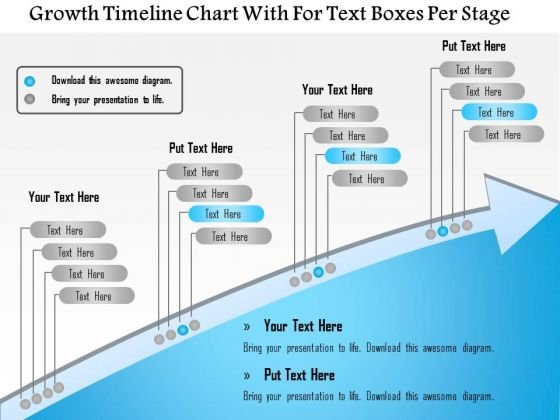 Business Framework Growth Timeline Chart With For Text Boxes Per Stage PowerPoint Presentation