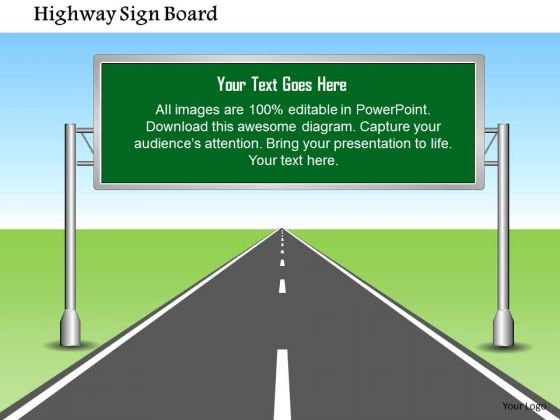 Business Framework Highway Sign Board With Editable Text PowerPoint Presentation
