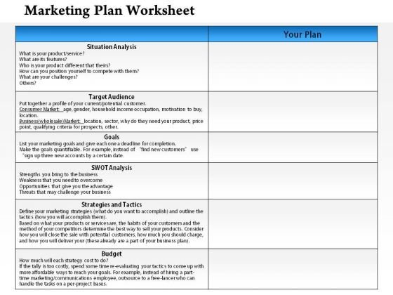 Business Framework Marketing Plan Worksheet PowerPoint – Business Plan Worksheet