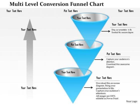 Business Framework Multi Level Conversion Funnel Chart PowerPoint Presentation