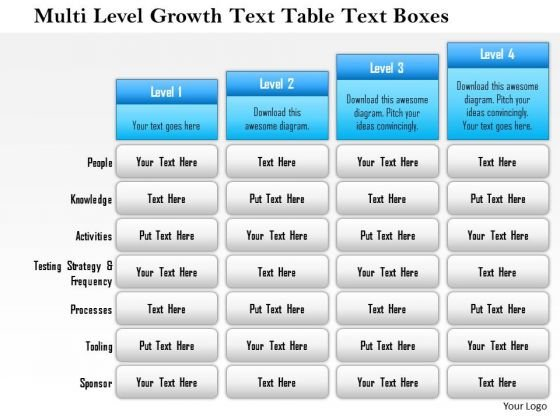 Business Framework Multi Level Growth Text Table Text Boxes 1 PowerPoint Presentation