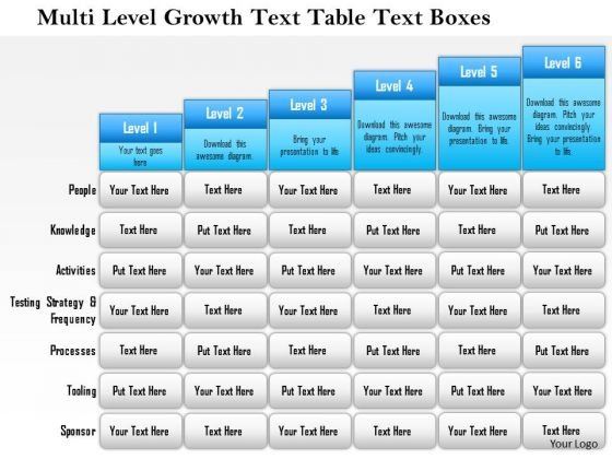 Business Framework Multi Level Growth Text Table Text Boxes 3 PowerPoint Presentation