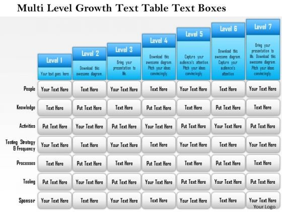 Business Framework Multi Level Growth Text Table Text Boxes 4 PowerPoint Presentation