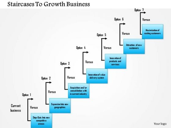 Business Framework Staircases To Growth Business PowerPoint Presentation