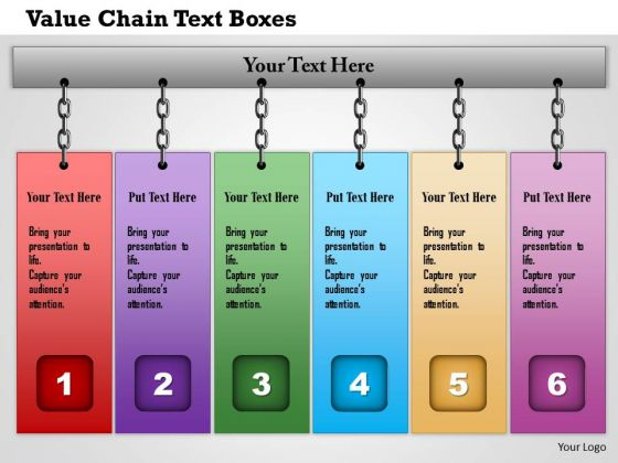 Business Framework Value Chain Text Boxes PowerPoint Presentation