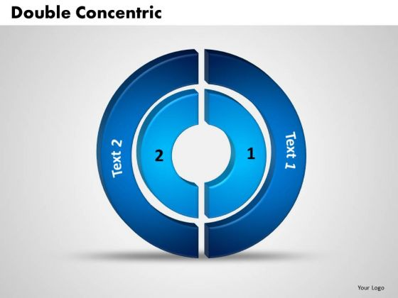 Business Graphic PowerPoint Templates Business 3d Double Concentric Rings Pieces Ppt Slides