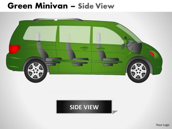 Business Green Minivan Side View PowerPoint Slides And Ppt Diagram Templates