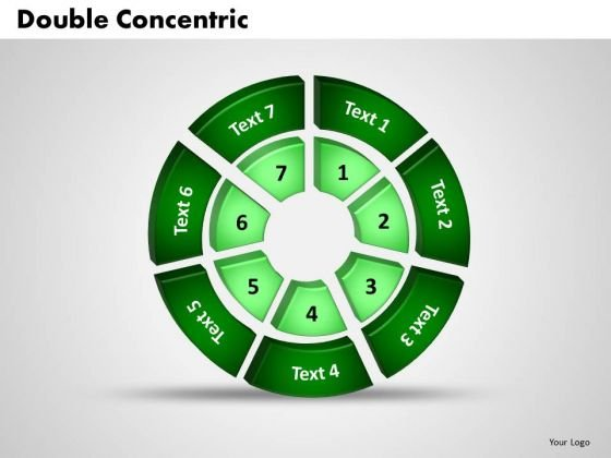 Business Growth PowerPoint Templates Business 3d Double Concentric Rings Pieces Ppt Slides