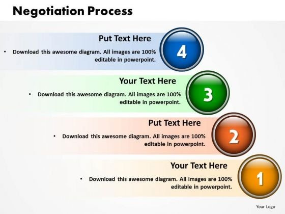 Business Growth PowerPoint Templates Business Four Stages Of Negotiation Process Ppt Slides