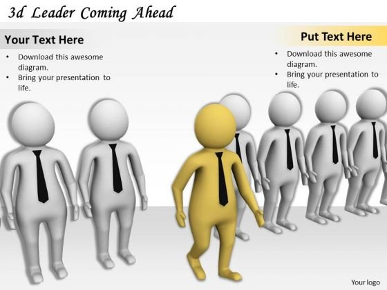 Business Growth Strategy 3d Leader Coming Ahead Concept