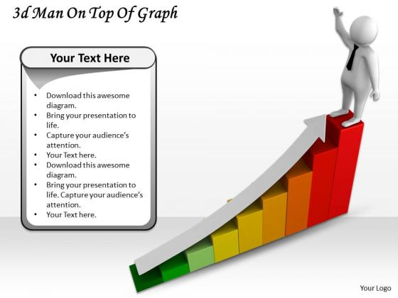 Business Growth Strategy 3d Man On Top Of Graph Character