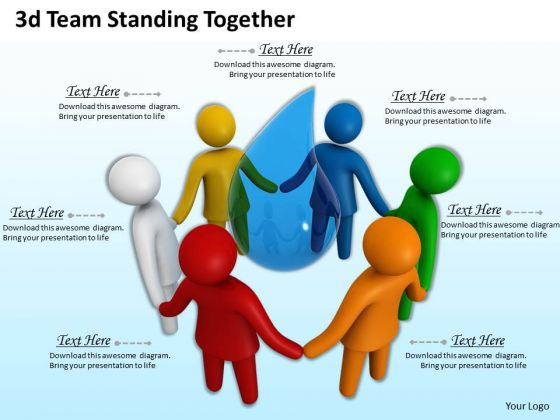 Business Growth Strategy 3d Team Standing Together Concepts