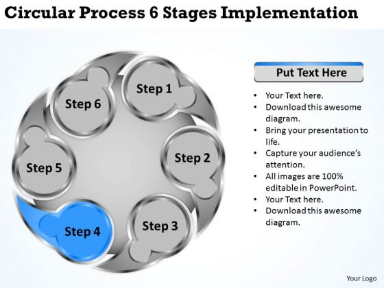 Business Growth Strategy Circluar Process 6 Stages Implementation And