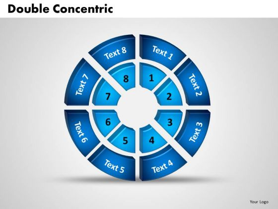 Business Image PowerPoint Templates Business 3d Double Concentric Rings Pieces Ppt Slides