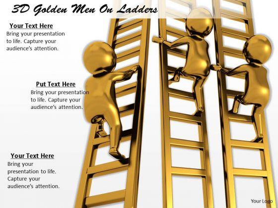 Business Integration Strategy 3d Golden Men Ladders Character Models