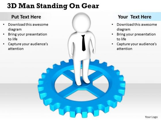 Business Integration Strategy 3d Man Standing Gear Adaptable Concepts
