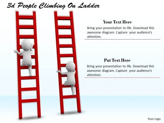 Business Integration Strategy 3d People Climbing Ladder Character Modeling