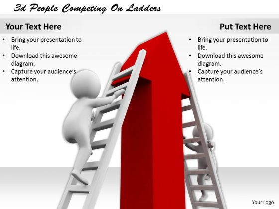Business Integration Strategy 3d People Competing Ladders Character Modeling