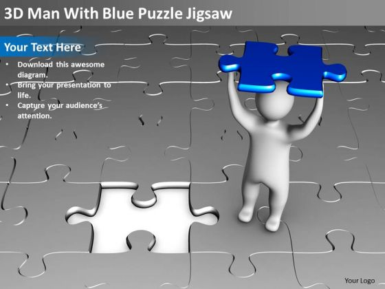 Business Intelligence Architecture Diagram 3d Man With Blue Puzzle Jigsaw PowerPoint Slides