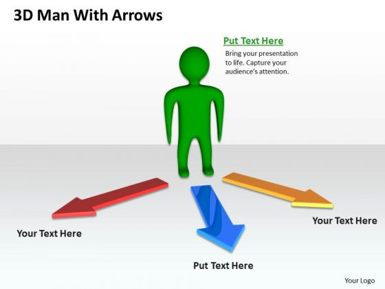 Business Intelligence Diagram 3d Man With Arrows PowerPoint Slides
