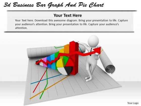 Business Intelligence Strategy 3d Bar Graph And Pie Chart Characters
