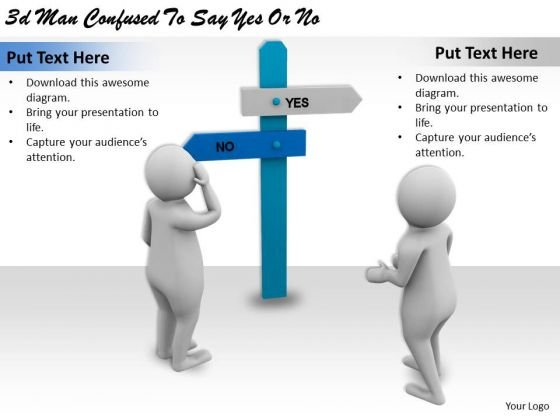 Business Level Strategy 3d Man Confused To Say Yes Or No Character Modeling