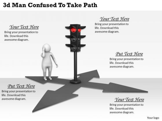 Business Level Strategy 3d Man Confused To Take Path Character Modeling