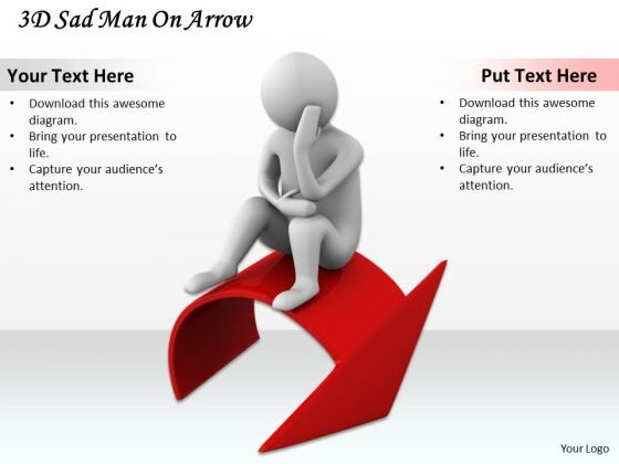 Business Level Strategy 3d Sad Man On Arrow Adaptable Concepts