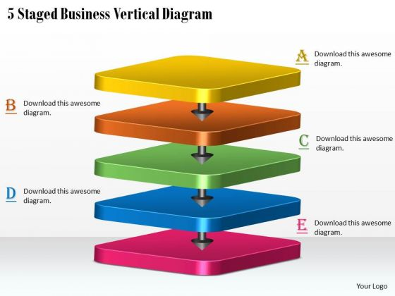 Business Level Strategy 5 Staged Vertical Diagram Strategic Planning Steps