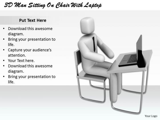 Business Level Strategy Definition 3d Man Sitting Chair With Laptop Basic Concepts