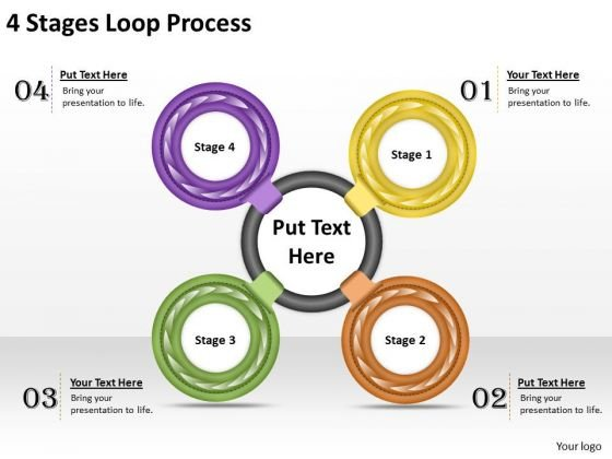 Business Level Strategy Definition 4 Stages Loop Process Strategic Sales Plan Ppt Slide