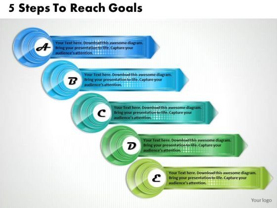 Business Level Strategy Definition 5 Steps To Reach Goals Strategic Planning Outline Ppt Slide