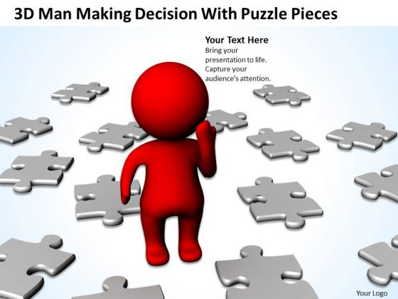Business Life Cycle Diagram 3d Man Making Decision With Puzzle Pieces PowerPoint Templates
