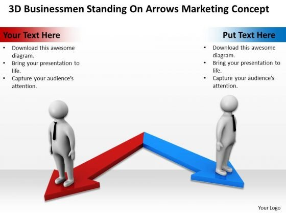 Business Logic Diagram 3d Businessmen Standing On Arrows Marketing Concept PowerPoint Slides