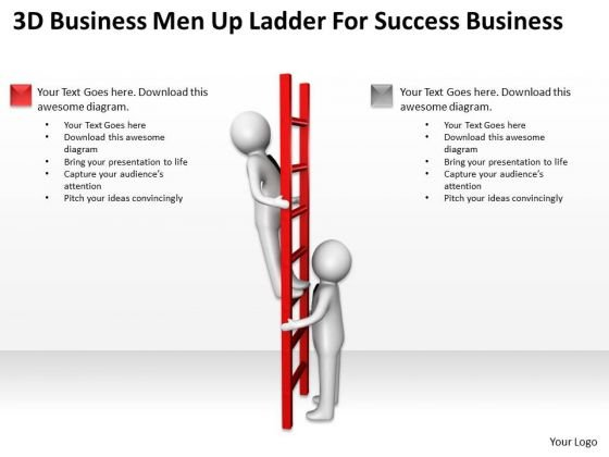 Business Logic Diagram 3d Man Up Ladder For Success PowerPoint Slides